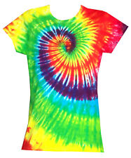 Ladies Tie Dye T Shirt  bright rainbow, Hand dyed in the UK by Sunshine Clothing