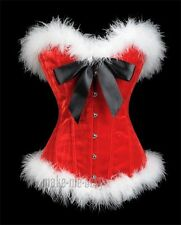 Sexy Red Christmas Miss Santa Size S-2XL Velvet Corset White Feather Trim  MMS