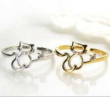 Womens Kitty Cat Ring Crystal Animal Ring Kitten Gold Silver Plated gift idea #7
