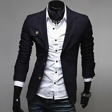 Mens Casual Dress Slim Fit Stylish Suit Blazer Coats Jackets 3color SZ XS S M L