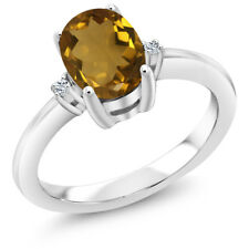1.19 Ct Oval Whiskey Quartz White Topaz 925 Sterling Silver Ring