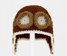 Aviator Hat, Brown Knit / Crochet Beanie for any age baby-adult