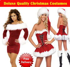 Miss sexy Santa Christmas Fancy Dress Costume Outfit DELUXE QUALITY FREE POSTAGE