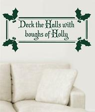 Deck The Halls With Boughs Of Holly Vinyl Wall Decals Sticker Words Christmas