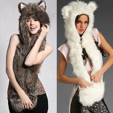 3 in 1 Women Cute Faux Fur Winter Warm Hat Cap Scarf Scarves Gloves Hand Warmer