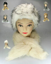 LADIES WOMENS FAUX FUR SCARF HAT SET RUSSIAN COSSACK WINTER WARM XMAS GIFT NEW
