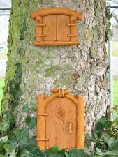 Cast Stone Cement Elf Dinky Door & Wee Window Outdoor Garden Tree Plaque Set