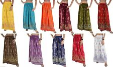 SANSKRITI NEW LONG SKIRT HAND BEADED PAINTED BOHEMIAN GYPSY MAXI ELASTIC SEQUINS