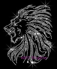Lions - Clear Face Iron on Rhinestone Transfer Hot Fix Bling School Mascot Lion