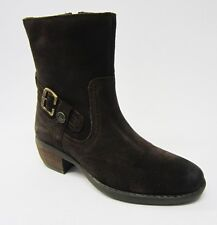 Hush Puppies Ladies Pennine Dark Brown Waxy Suede 4.1cm Cuban Heel Ankle Boot