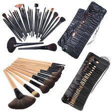 Wood/Black Makeup Brush Set 32 PCS Cosmetic Make up Brushes Kit + Pouch Bag Case