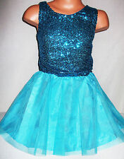 GIRLS 50s STYLE BLUE SEQUIN TULLE RUFFLE EVENING PROM PARTY DRESS