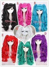 Girls Lolita Style Long Clip On Ponytails Curly Multi-Color Cosplay Wig RW137