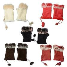 Women's Rabbit Fur Hand Wrist Warmer Fingerless Winter Gloves Computer