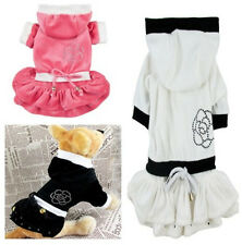 Good Soft Small Girl Dog Pet Clothes Apparel Hoodie Flower Princess Dress XS-XL