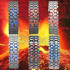 Lava Iron Samurai LED Digital Faceless Metal Bracelet Men Lady Wrist Watch New