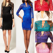 Sexy Women V-neck Pencil Bodycon Mini Slim Lace Dress Cocktail Casual Party Club
