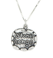 Sterling Silver Stonehenge Travel Charm with Box Chain Necklace