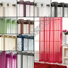 VOILE CURTAIN PANEL RING TOP EYELET PLAIN  NET BLACK SILVER WHITE CREAM RED PINK