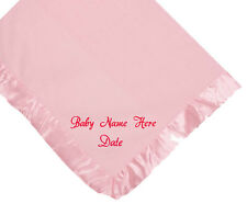 CUSTOM NAME AND DATE  EMBROIDERY FLEECE PINK BABY BLANKET RED SCRIPT LETTERS