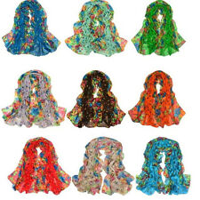 WOMEN FASHION STYLISH WARM SOFT FLOWER VOILE  SCARF NECK WRAP SHAWL