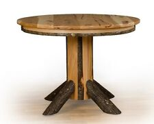 Rustic Hickory & Oak Single Pedestal Round Dining Table *Solid Top or Extension*