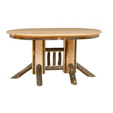 All Hickory or Hickory & Oak Double Pedestal Oval Dining Table *Expandable*