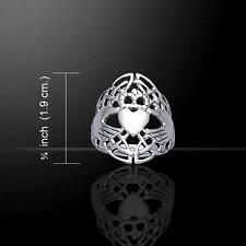 Webbed Celtic Claddagh & Celtic Knotwork Silver Ring - Size Selectable