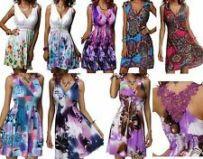 WOMENS LADIES FLORAL GRECIAN PLUNGE V NECK BEACH MIDI SUN HOLIDAY DRESS 12-18 BN
