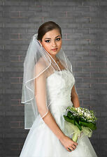 New Womens 2 Tier Ivory / White Wedding Bridal Elbow Satin Edge Veil Length 32""