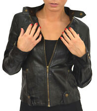 Womens Leather Look Bomber Jacket Cropped Sizes 8 10 12 14 16