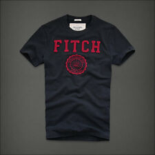 "Abercrombie Men's tee Abercrombie & Fitch """"FITCH w/ LOGO"" Navy/ Red NWT"