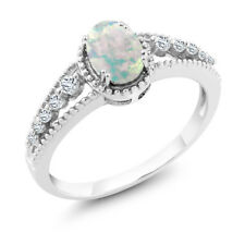 0.79 Ct Oval Cabouchon White Opal White Topaz 14K White Gold Ring