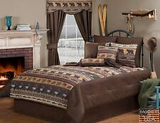 Dakota Faux Leather Pinecones Elk Bear Cabin Lodge Bedding Comforter Set 5 Sizes