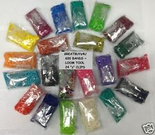NEW for RAINBOW LOOM RUBBER BAND REFILL W/CLIPS&BONUS TOOL ALL COLORS 600per BAG
