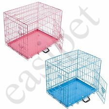 Pink Blue Dog Puppy Metal Training Cage Crate Carrier Small Medium Large Easipet