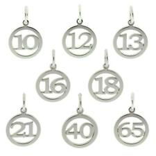 925 STERLING SILVER BIRTHDAY NUMBER AGE PENDANT CHARM GIFT 10-70