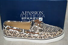 WOMENS SPERRY BAHAMA COGNAC/DK BROWN SEQUINS BOAT SHOES (S1188)