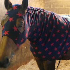 Merlins Medieval Closet/Horse hoodie/Full face/Fleece/Neck cover/Navy/Red stars