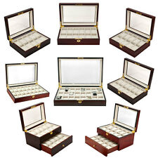 Watch Box CHOOSE Case Size Wood Glass Display Storage Jewelry Organizer Box Pick
