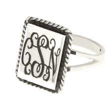 Sterling Silver Monogram Engravable Rectangular Shape with Rope Edge Signet Ring