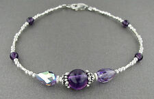 Amethyst Anklet or Bracelet - Gemstone, Crystal, and SS Silver - Sm to Plus Size