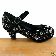 Black Pageant Crowning Flower Girls Dress Dance Shoes Youth Size 2,3,4