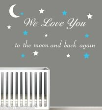 We Love You to the moon and back again Wall Sticker Quote - Stars 2 colours