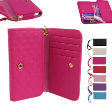 Flip Zip Envelope Purse Leather Card Wallet Case Cover For iPhone 4 5 5S 5C Rose