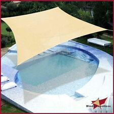Sun Shade Sail UV Top Outdoor Canopy Patio Lawn Square Rectangle 12' 16' w/Rope