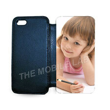 PERSONALISED IPHONE 4 4S 5 5S LEATHER FLIP CASE COVER YOUR IMAGE PHOTO LOGO TEXT