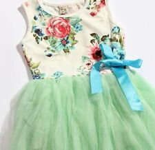Green Flower Girl Dress Princess Vintage Special Occasion Party Skirt Size 2-5