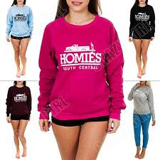 New Ladies Womens Homies Print Fleece Sweatshirt Top Jumper Size S M L XL 8 14
