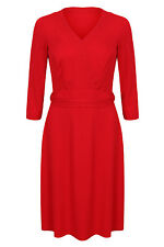 Womens Ladies Red Long Sleeve Wrap Dress Formal Evening Cocktail Party Wear 8-18